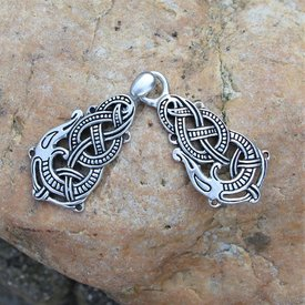 Pewter cloak clasp with Midgard snake