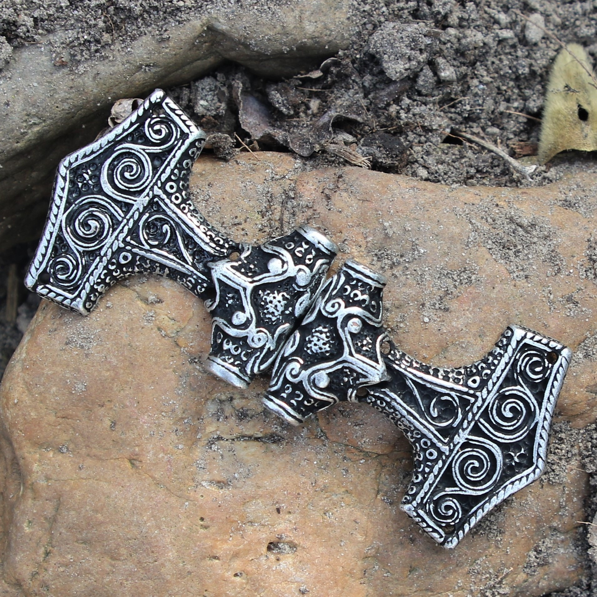 Cloak clasp Thor's hammer, silvered