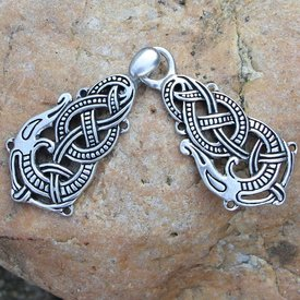 Silvered cloak clasp with Midgard snake