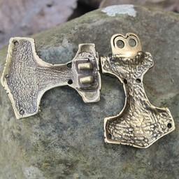 Cloak clasp Thor's hammer, bronze