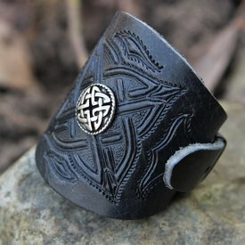 Celtic Lederarmband mit Schnallen, schwarz