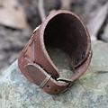 Keltische leren armband met gespen, bruin