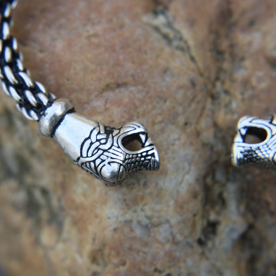 Oseberg Viking Armband L, versilbert
