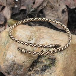 Viking upper bracelet with wolf heads, bronze