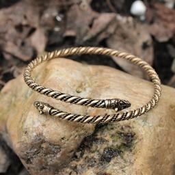 Viking bovenarmband met wolvenkoppen, brons