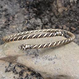 Viking övre armband med varg huvuden, brons