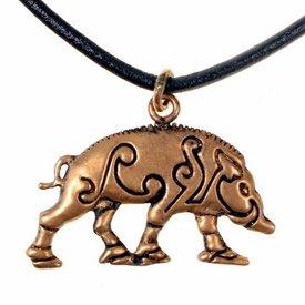 ciondolo celtica Knocknagael cinghiale in bronzo