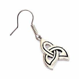 Keltische oorbellen triskelion, verzilverd