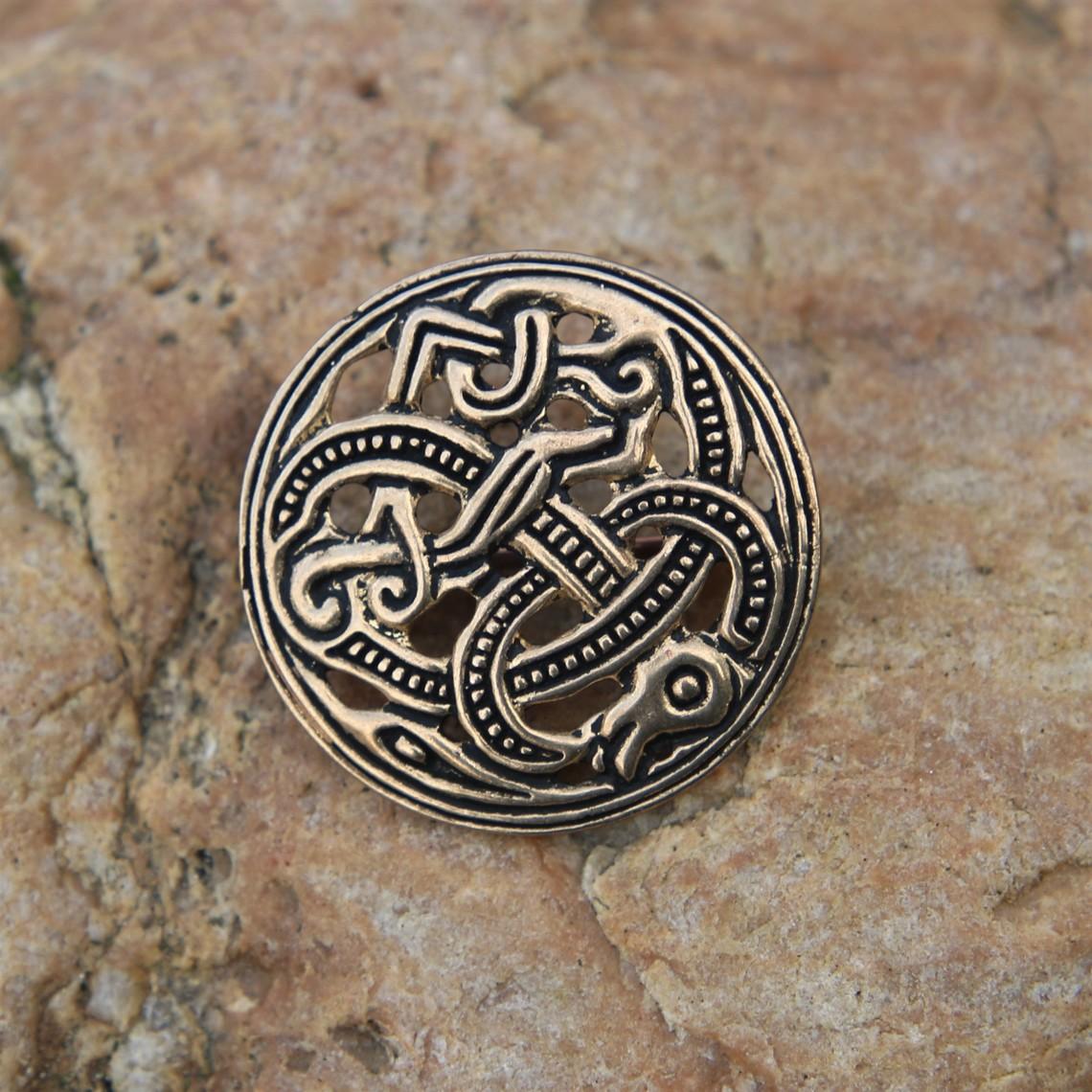 Viking disco perone stile Jellinge, bronzo