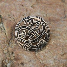 Viking Scheibenfibel Jellinge Stil, Bronze