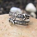anneau barreau avec la tête de loup, bronze argenté