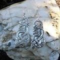 Viking drakenoorbellen, verzilverd