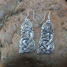 Boucles d'oreilles dragon viking, argenté