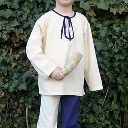 Børne skjorte Peter hvid-blå