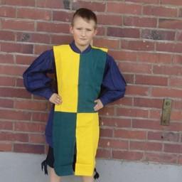 Børns surcoat skakbræt gul-grøn
