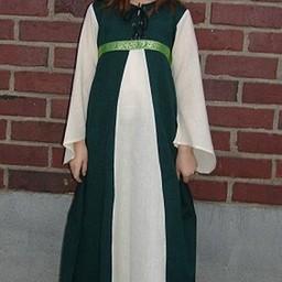 Flickans klänning Ariane grön-vit