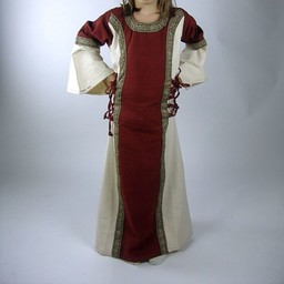 Pigekjole Cleena rød-hvid