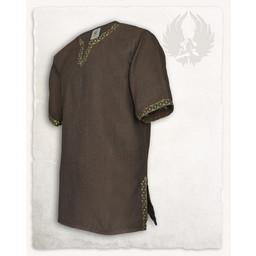 Medievale tunica Sigbert, motivo a spina di pesce, marrone