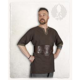 Mittelalterliche Tunika Sigbert, Fischgrät-Motiv, braun