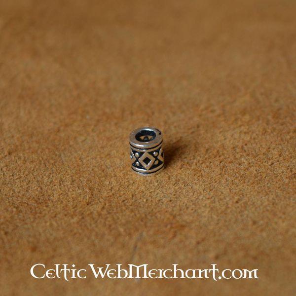 Viking beard bead with lozenge silver