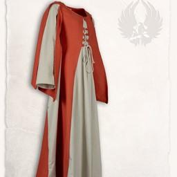 Middeleeuwse jurk Jasione, oranje/creme