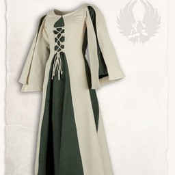 Middeleeuwse meisjesjurk Kirian, creme/groen