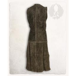 Medieval ærmeløs kjole Lenora, ruskind, olivengrøn