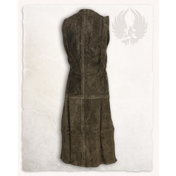 Medieval sleeveless dress Lenora, suede leather, olive green