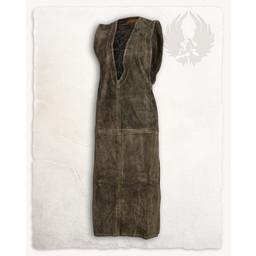 Mittelalterliche ärmelloses Kleid Lenora, Veloursleder, olivgrün