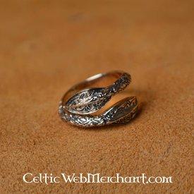 Viking Ring med spjuthuvuden mönster, brons