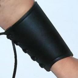 Leren onderarmbeschermer zwart, S