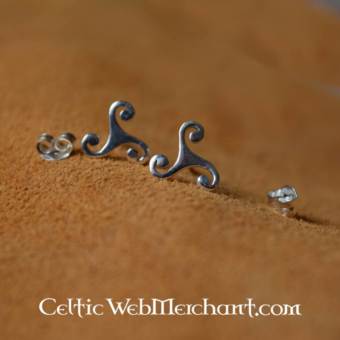 Pendientes con trasera Triskelion, plata