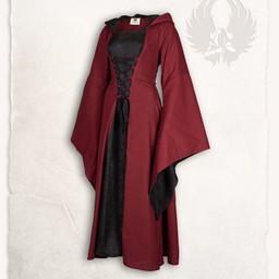 Middeleeuwse jurk Ophelia, rood-zwart