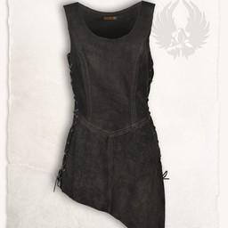 Skórzana sukienka lunetka, czarna