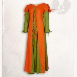 Girl's dress Rebecka, orange-green