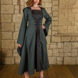 Średniowieczna sukienka Ophelia, zielono-czarna
