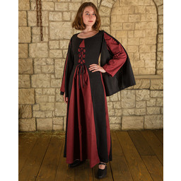 Middeleeuwse jurk Jasione, zwart/bordeaux