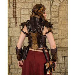 Leather ladies armor Morgana, brown-gold