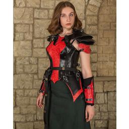 Leren damespantser Morgana, rood-zwart