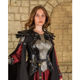 Leren damespantser Morgana, zwart-zilver