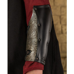 Skórzana zbroja damska Morgana, czarno-srebrna