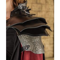 Armadura de cuero para mujer Morgana, negro-plateado
