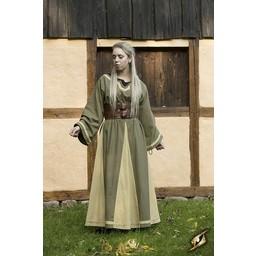 Viking dress Astrid, green/beige
