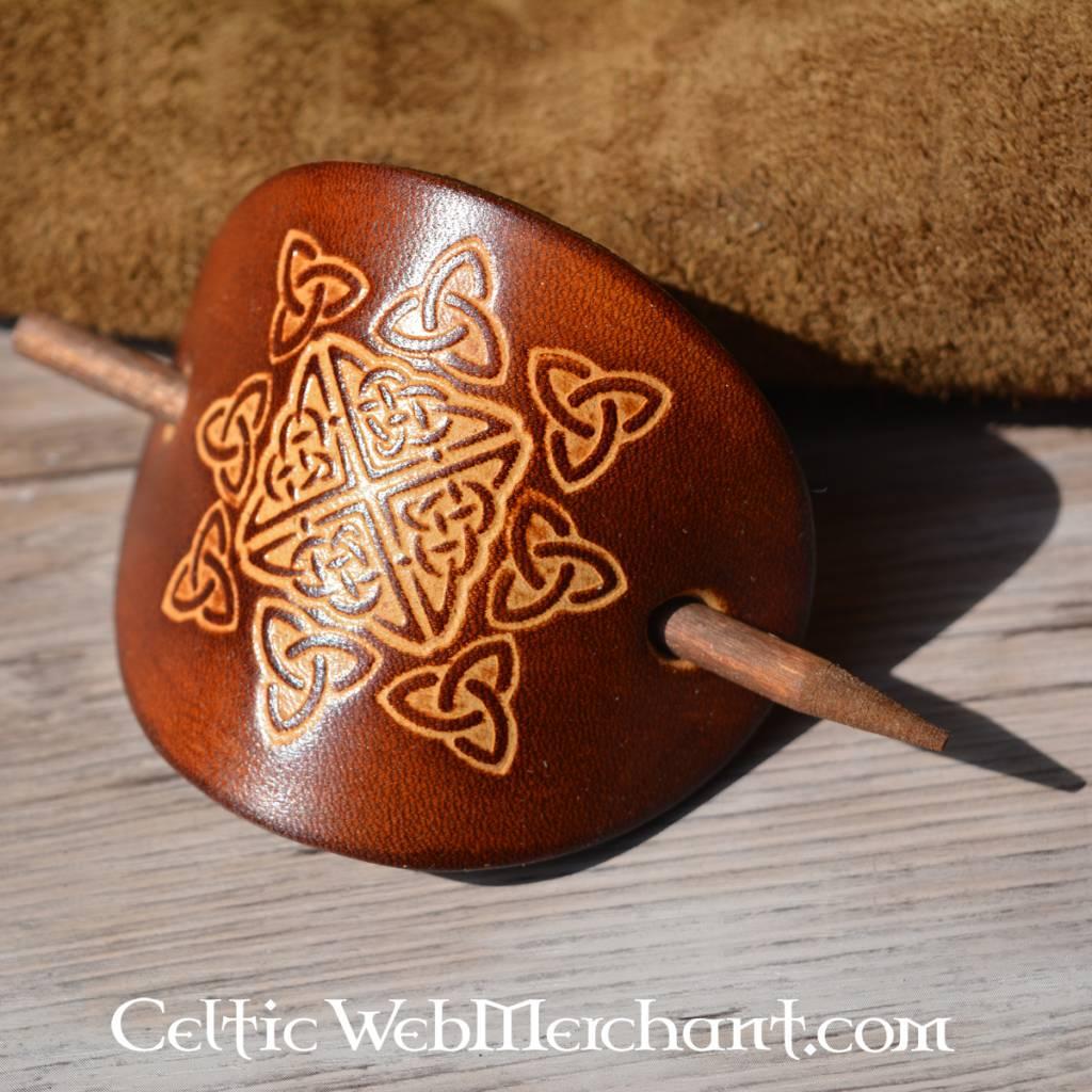 Épingle celtique à cheveux, Nuala, marron foncé