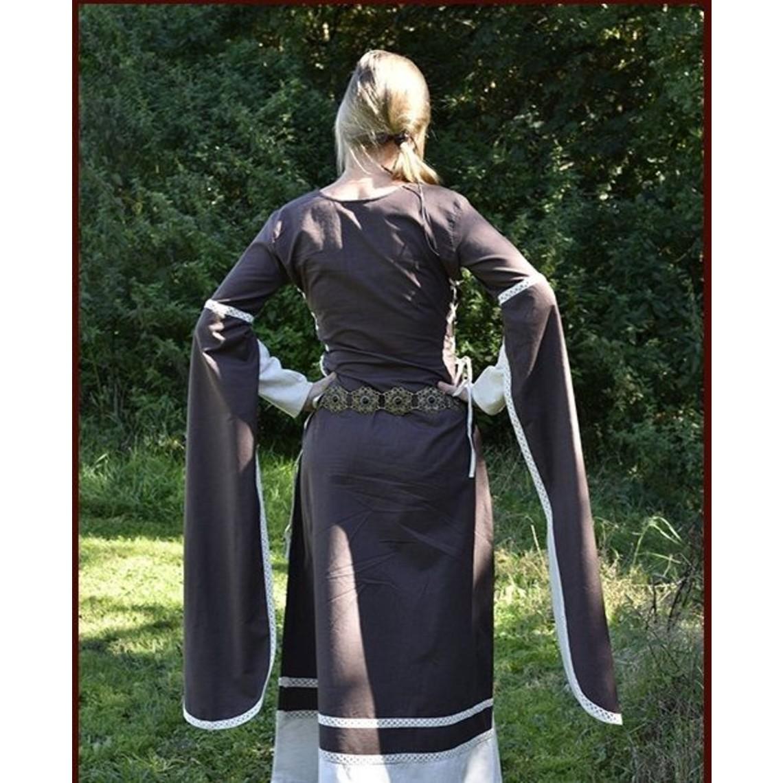Mittelalterkleid Dorothee, braun / naturfarben
