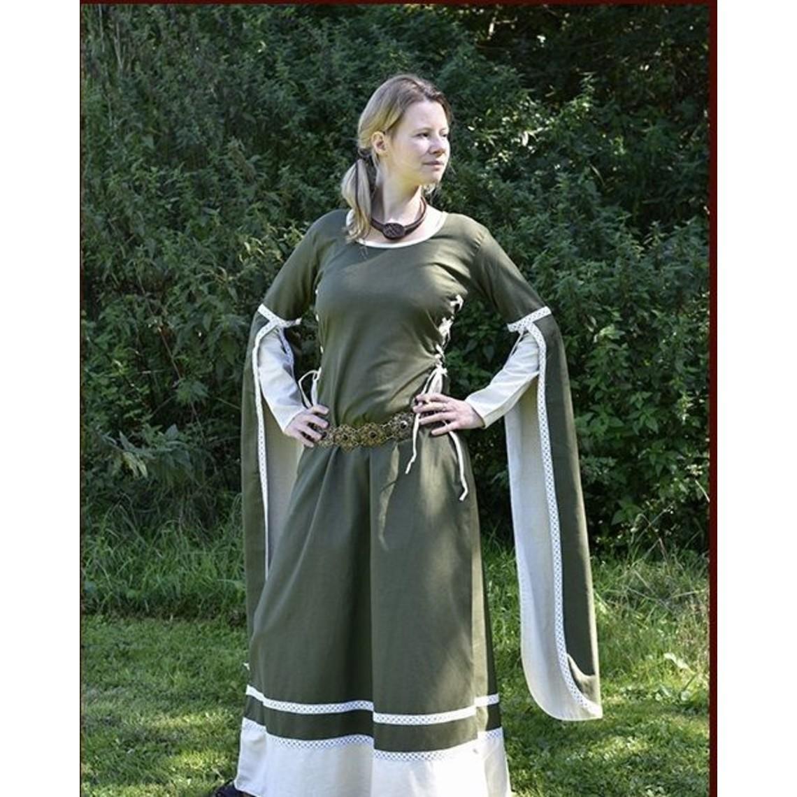 Robe médiévale Dorothee, naturel d'olive