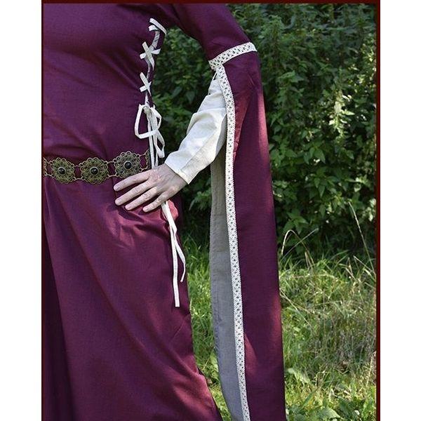 Medieval Dress Dorothee, bordeaux / naturlig farvet
