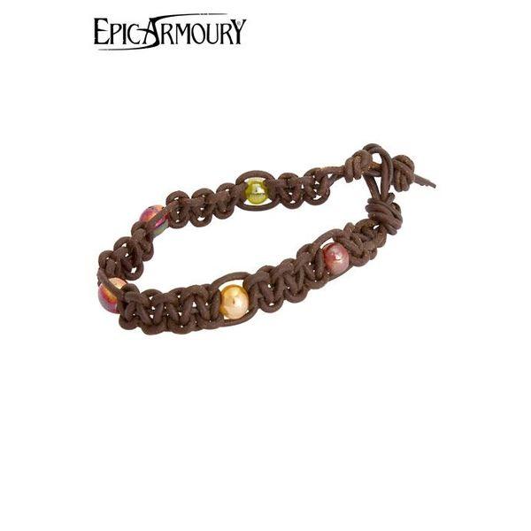 Epic Armoury Pulsera con perlas, cuero