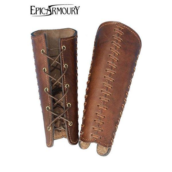 Epic Armoury Leather Bracers Battle, brązowy, para