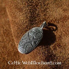 Silver shield brooche pendant